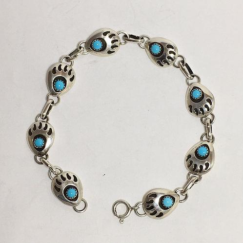 Navajo Sterling Silver Sleeping Beauty Link Bracelet