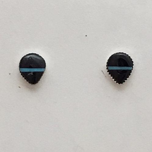Zuni Sterling Silver Jet Post Earrings