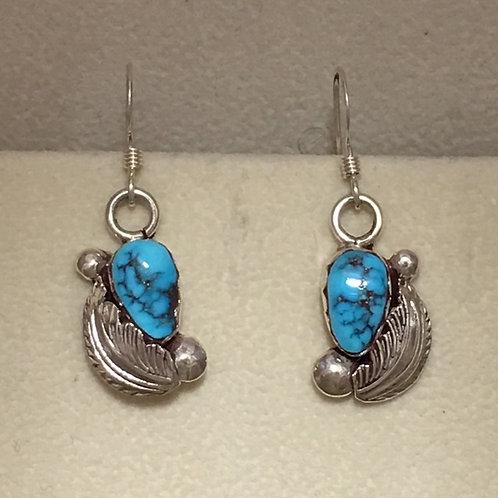 Zuni Sterling Silver Kingman Turquoise Hook Earrings