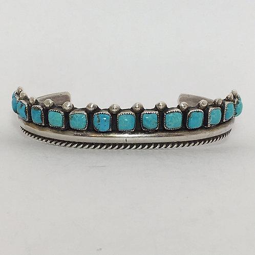Zuni Sterling Silver Sleeping Beauty Cuff Bracelet