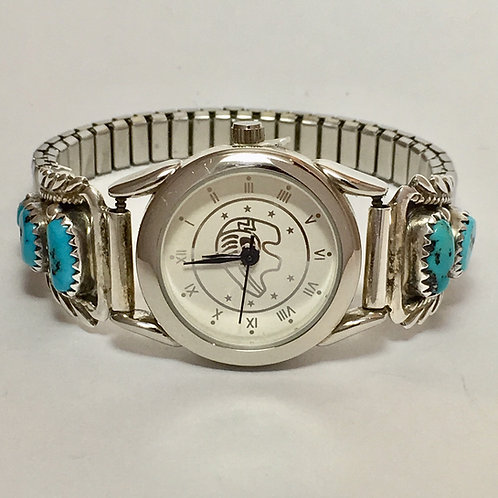 Navajo Sterling Silver Turquoise Tips Watch Bracelet