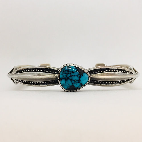 Navajo Sterling Silver Candelaria Turquoise Cuff Bracelet