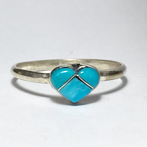 Zuni Sterling Silver Turquoise Heart Ring