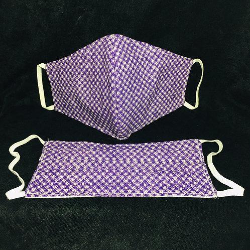Handmade Purple Plaid Print Face Mask