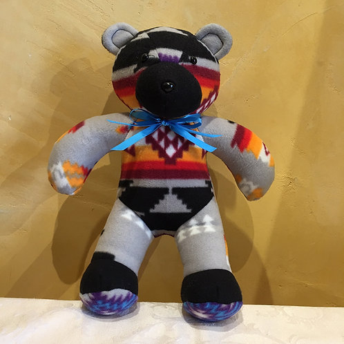 Navajo Handmade Grey Pendleton Teddy Bear Blu Collar