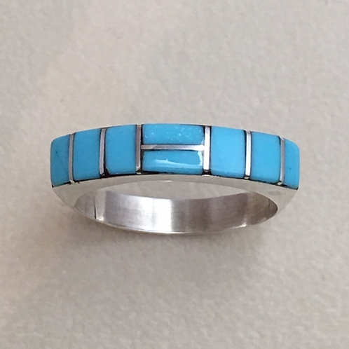 Zuni Sterling Silver Turquoise Inlay Ring