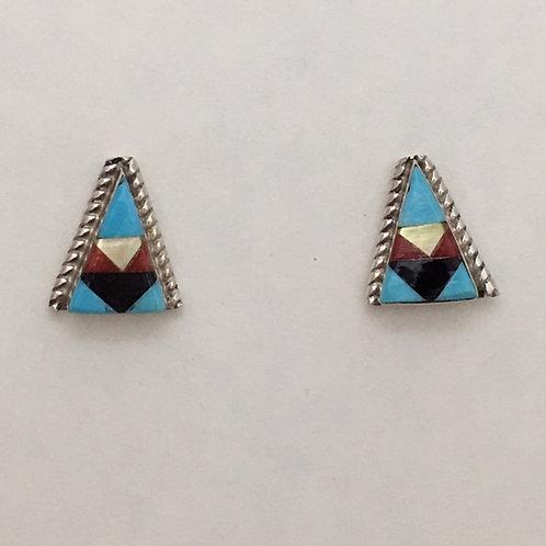 Zuni Sterling Silver Inlay Post Earrings