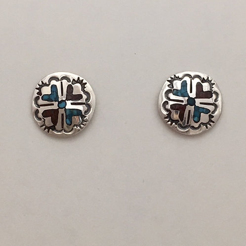 Navajo Sterling Silver Chip Inlay Post Earrings