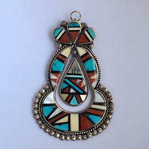 Zuni Sterling Silver Turquoise Coral Inlay Vintage Pin Pendant