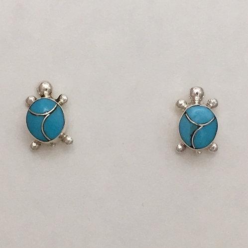 Zuni Sterling Silver Turtle Post Earrings