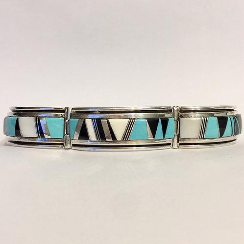 Navajo Sterling Silver Turquoise Ivory Link Bracelet