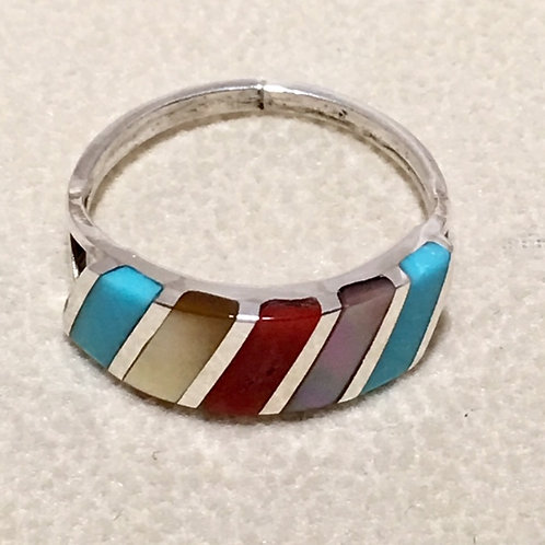 Zuni Sterling Silver Coral Turquoise Ring
