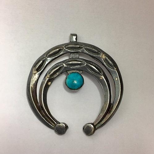 Navajo Sterling Silver Turquoise Naja Vintage Pendant