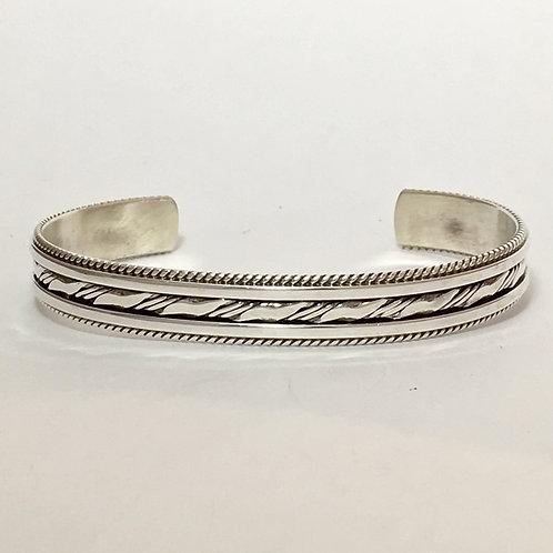Navajo Sterling Silver Twist Wire Design Bracelet
