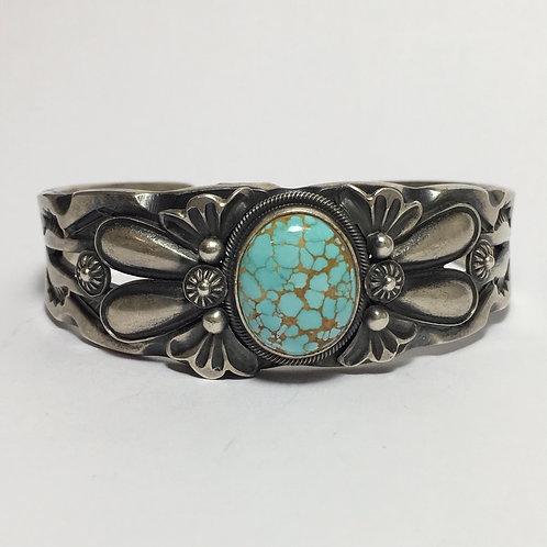 Navajo Sterling Silver No.8 Spiderweb Turquoise Bracelet