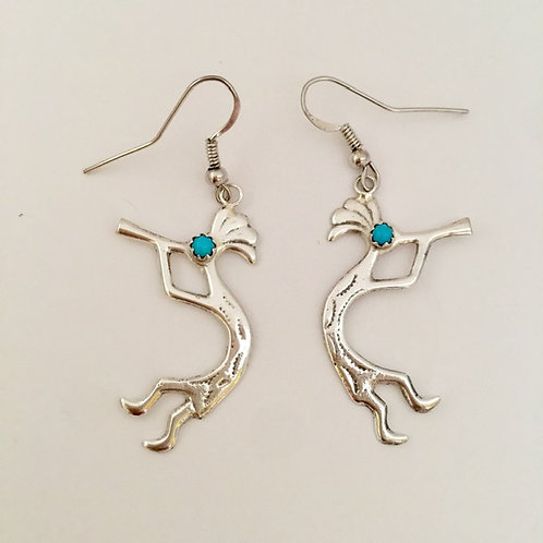 Navajo Sterling Silver Kokopelli Turquoise Earrings