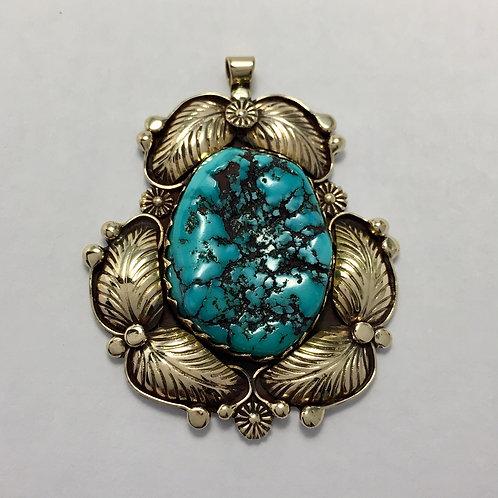 Navajo Sterling Silver 14k Kingman Turquoise Pendant