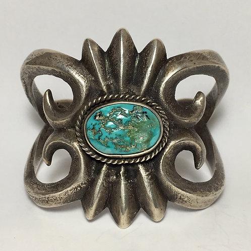 Navajo Sterling Silver Sandcast Cerico Lake Vintage Bracelet