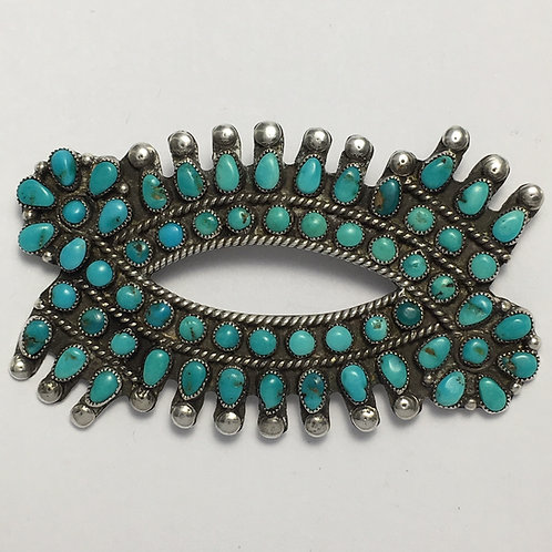 Zuni Sterling Silver Vintage Cluster Turquoise Pin Brooch