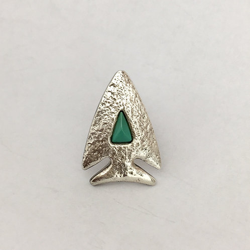 Navajo Sterling Silver Turquoise Arrowhead Tie Tack