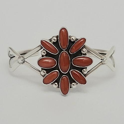 Navajo Sterling Silver Coral Cluster Cab Bracelet