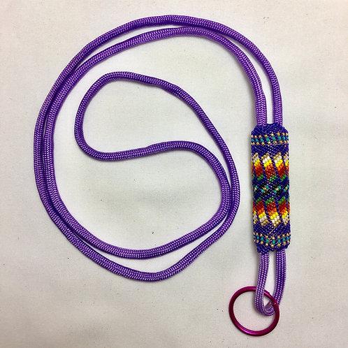 Navajo Hopi Handmade Beaded Purple Nylon Cord Lanyard