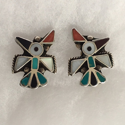 Zuni Sterling Silver Chanel Inlay Bird Vintage Earrings Clip-On