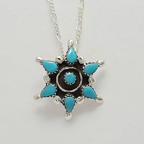 Zuni Sterling Silver Turquoise Cluster Pendant