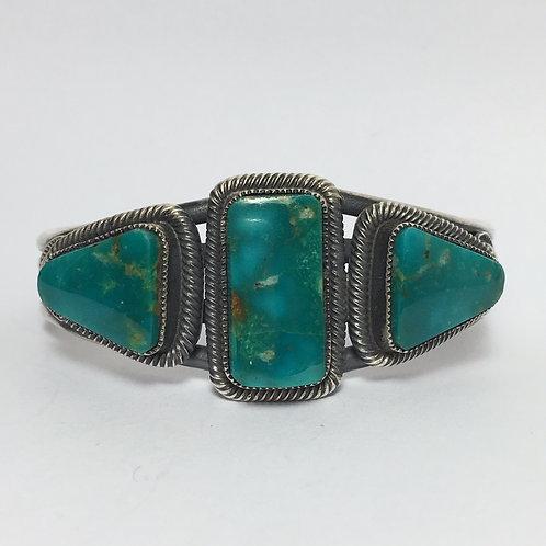 Navajo Sterling Silver Fox Turquoise Cuff Bracelet