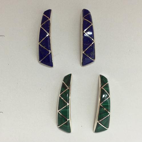 Lapis/Malachite inlaid Zig Zag Earrings