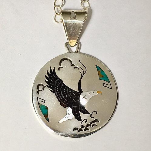 Navajo Sterling Silver Eagle Inlay Pendant