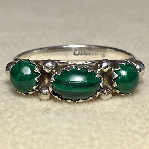 Navajo Sterling Silver Malachite Ring