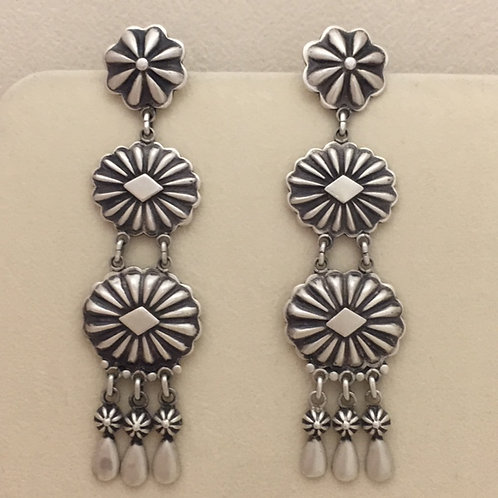 Navajo Repouse Stamp Chandelier Post Earrings
