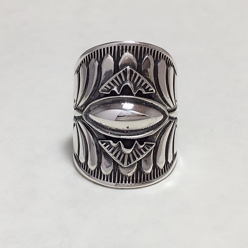 Navajo Sterling Silver Stamp Design Ring