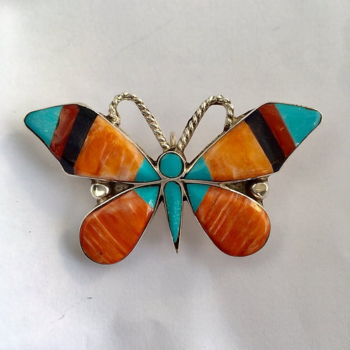 Zuni Sterling Silver Butterfly Inlay Oyster Shell Pin