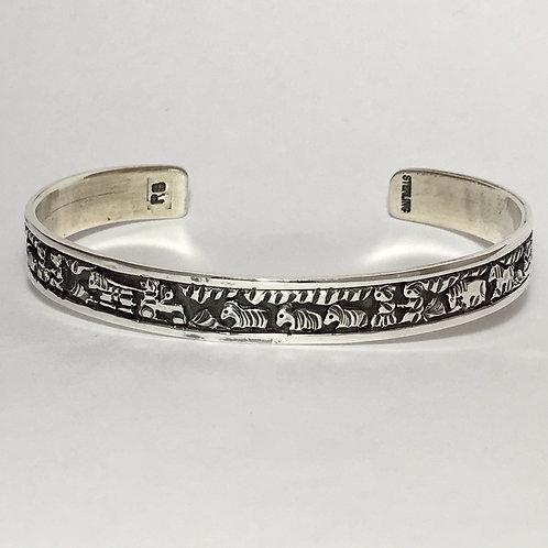 Navajo Sterling Silver Herding Story Tell Cuff Bracelet