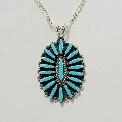 Zuni Sterling Silver Turquoise Needlepoint Cluster Pendant