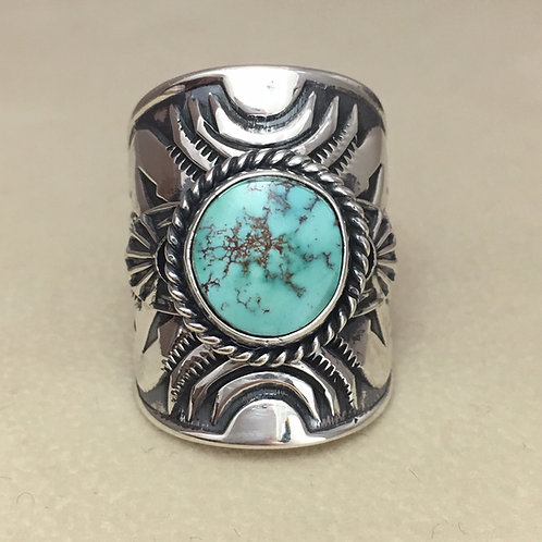 Navajo Sterling Silver Stamp Candelaria Turquoise Ring