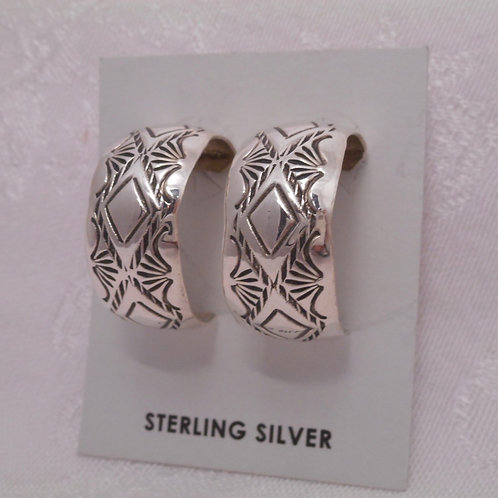 Sterling Silver Stamp Cuff Post Earrings