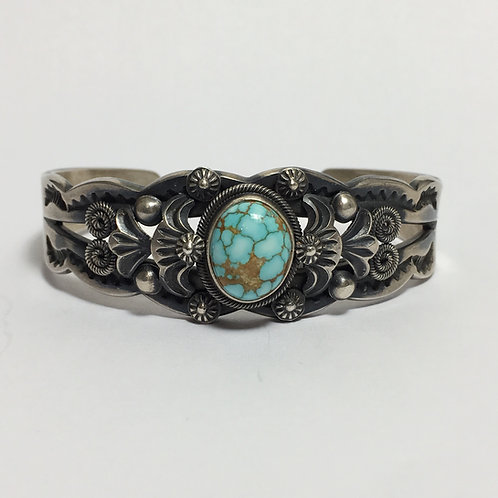 Navajo Sterling Silver No.8 Spiderweb Turquoise Cuff Bracelet