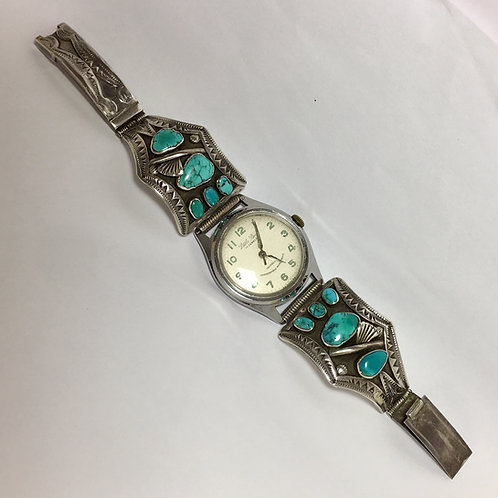 Navajo Sterling Turquoise Vintage Watch Band Link Bracelet