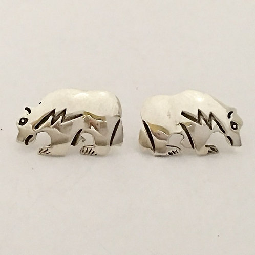 Navajo Sterling Silver Bear Post Earrings