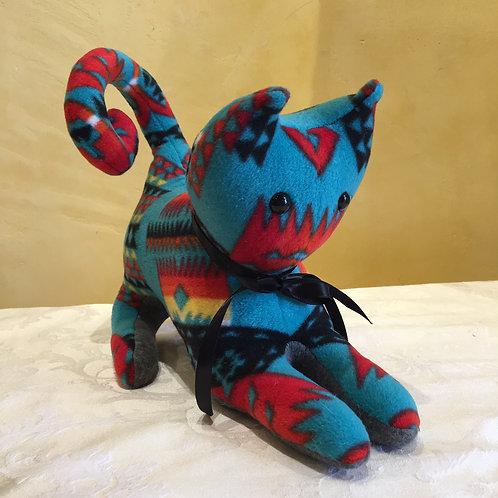 Navajo Handmade Turquoise Pendleton Cat Blk Collar