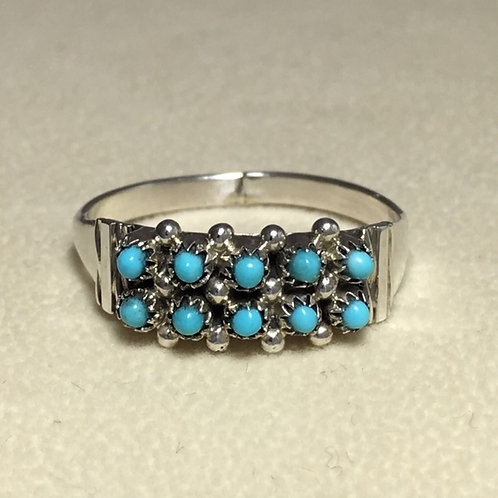 Zuni Sterling Silver Turquoise Stone Ring