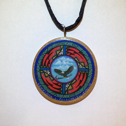 Zuni Wood Disc Eagle Pendant