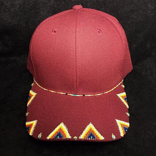 Navajo/Hopi Beaded Burgundy Cap Velcro