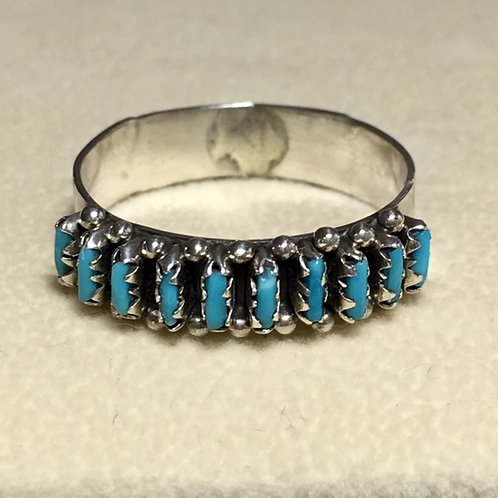 Zuni Sterling Silver Petite Turquoise Ring