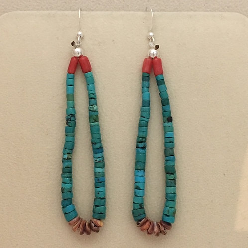 Navajo Turquoise Coral Jacla Hook Earrings