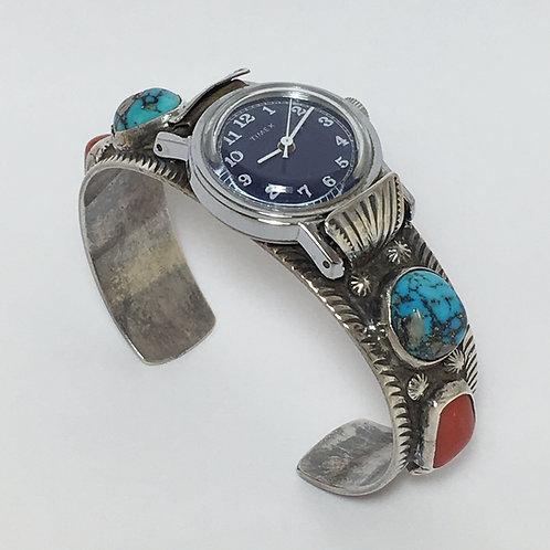 Navajo Sterling Coral Morenci Vintage Watch Band Bracelet