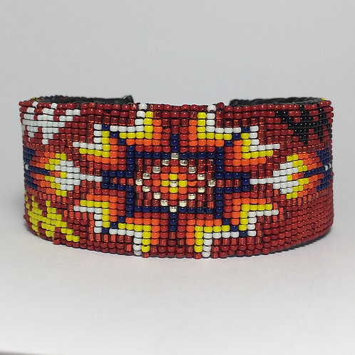 Navajo Native Beaded Red Wide Cuff Bracelet